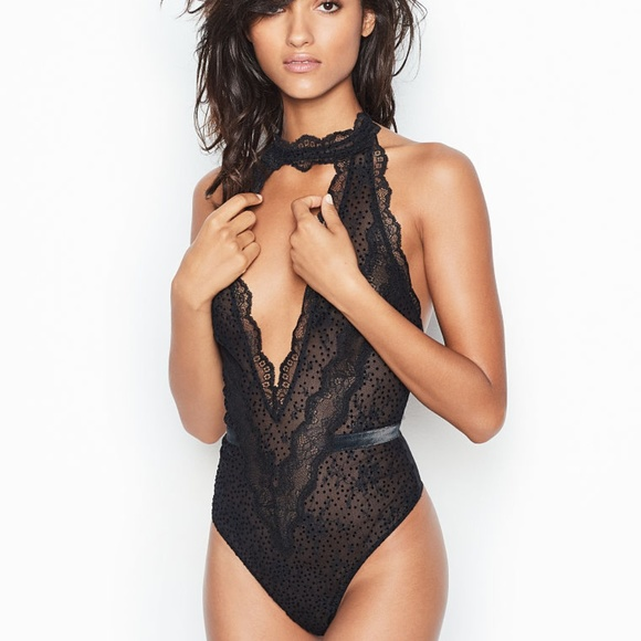 VERY SEXY Velvet Dot Lace Halter Teddy Bodysuit. NWT. Victoria s Secret 3b6bcd662